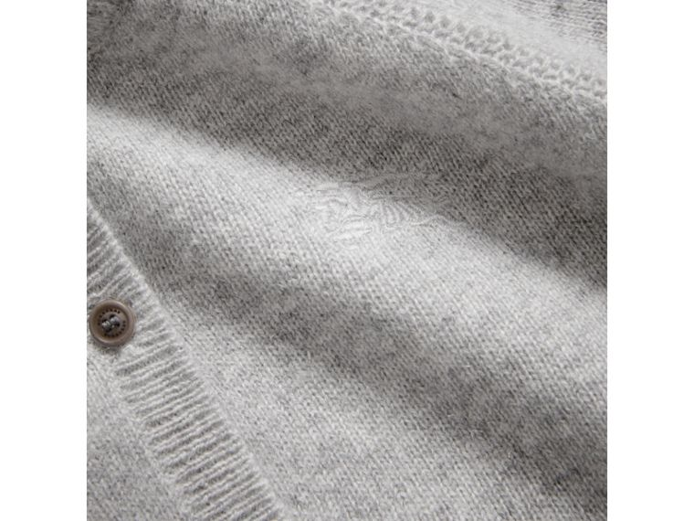 Check Detail Cashmere Cardigan in Light Grey Melange - Girl | Burberry United Kingdom - cell image 1