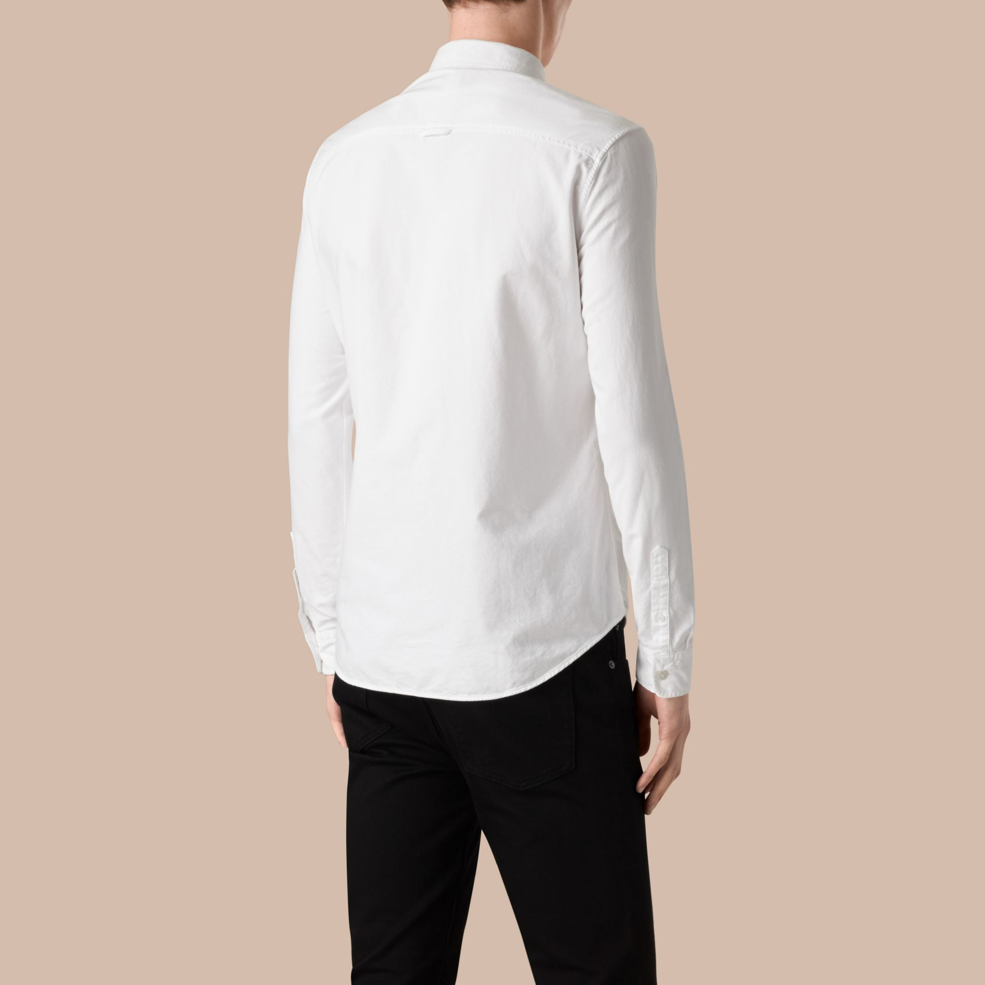Cotton Oxford Shirt in White - gallery image 3