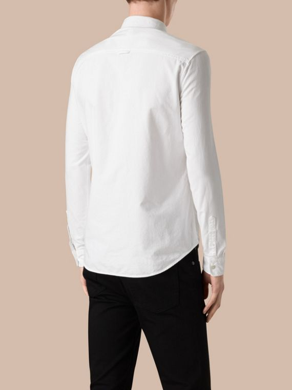 Cotton Oxford Shirt in White - Men | Burberry Singapore - cell image 2