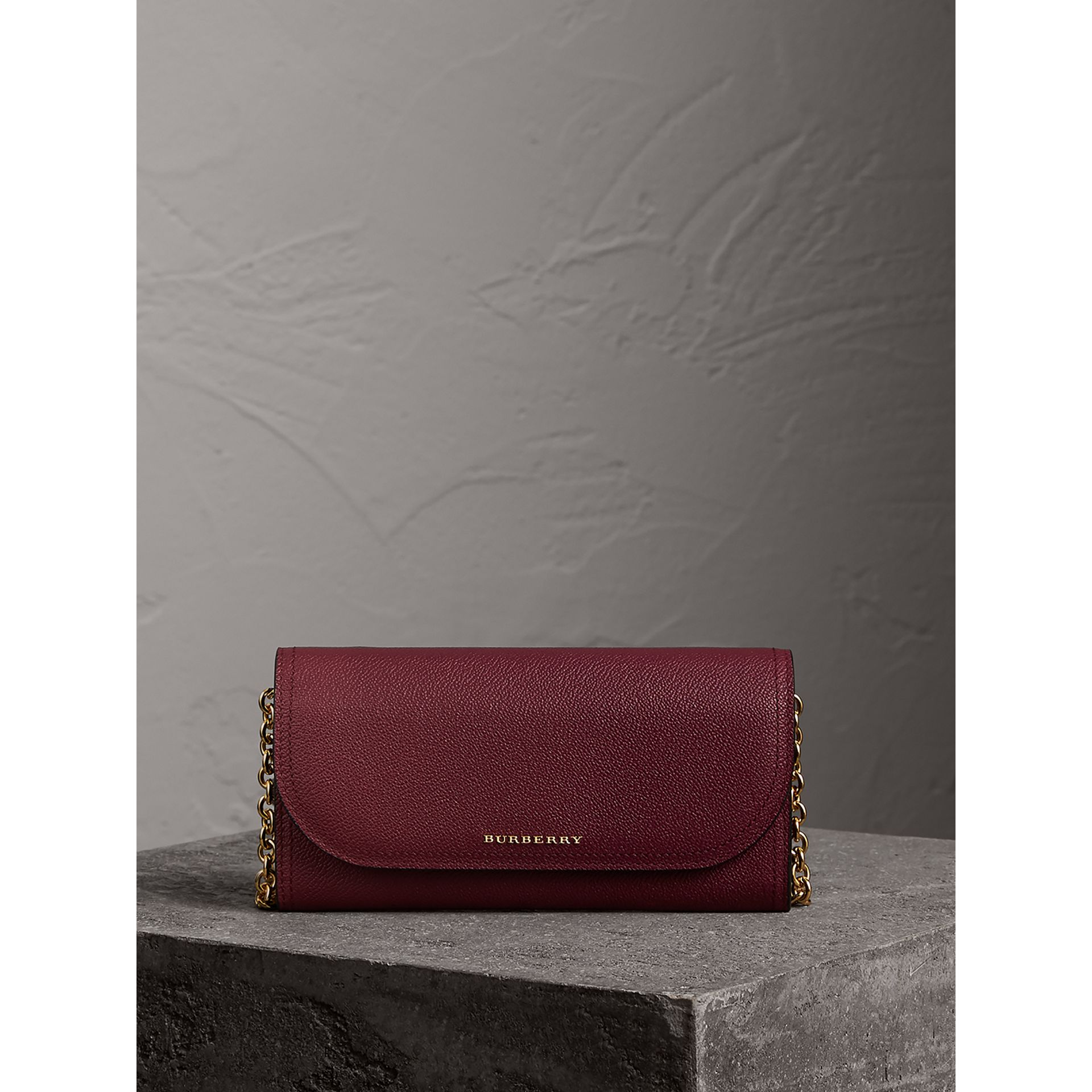 Leather Wallet with Chain in Dark Plum - Women | Burberry - gallery image 6