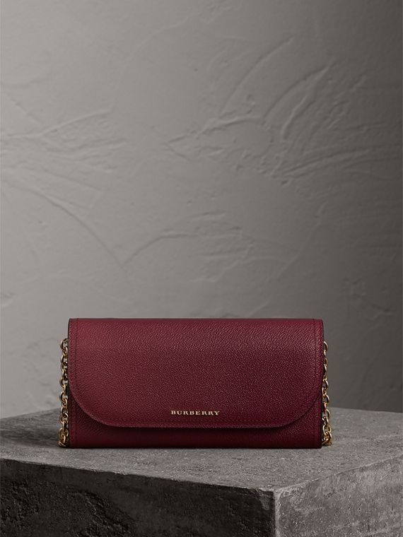 Leather Wallet with Chain in Dark Plum
