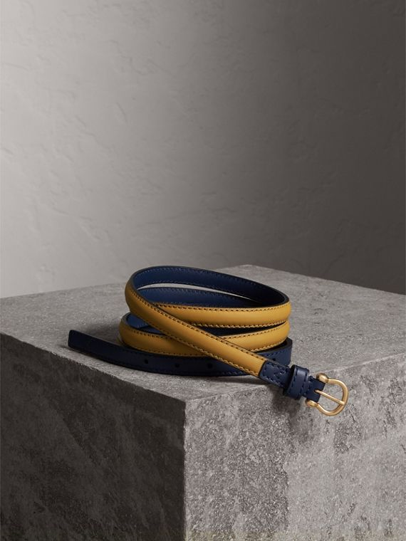 Two-tone Trench Leather Belt in Ochre Yellow / Ink Blue