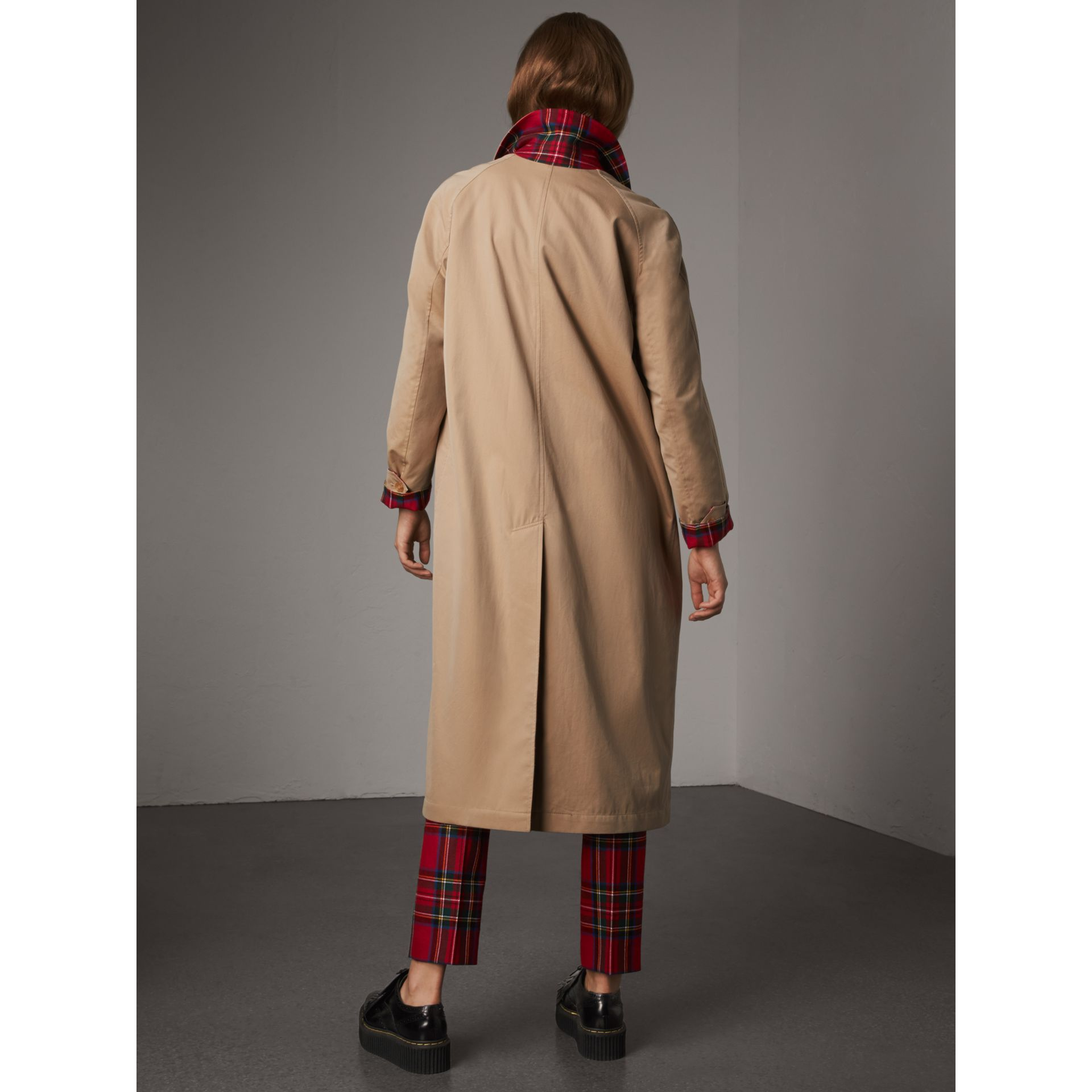 Reversible Gabardine and Tartan Wool Car Coat in Honey - Women | Burberry - gallery image 3