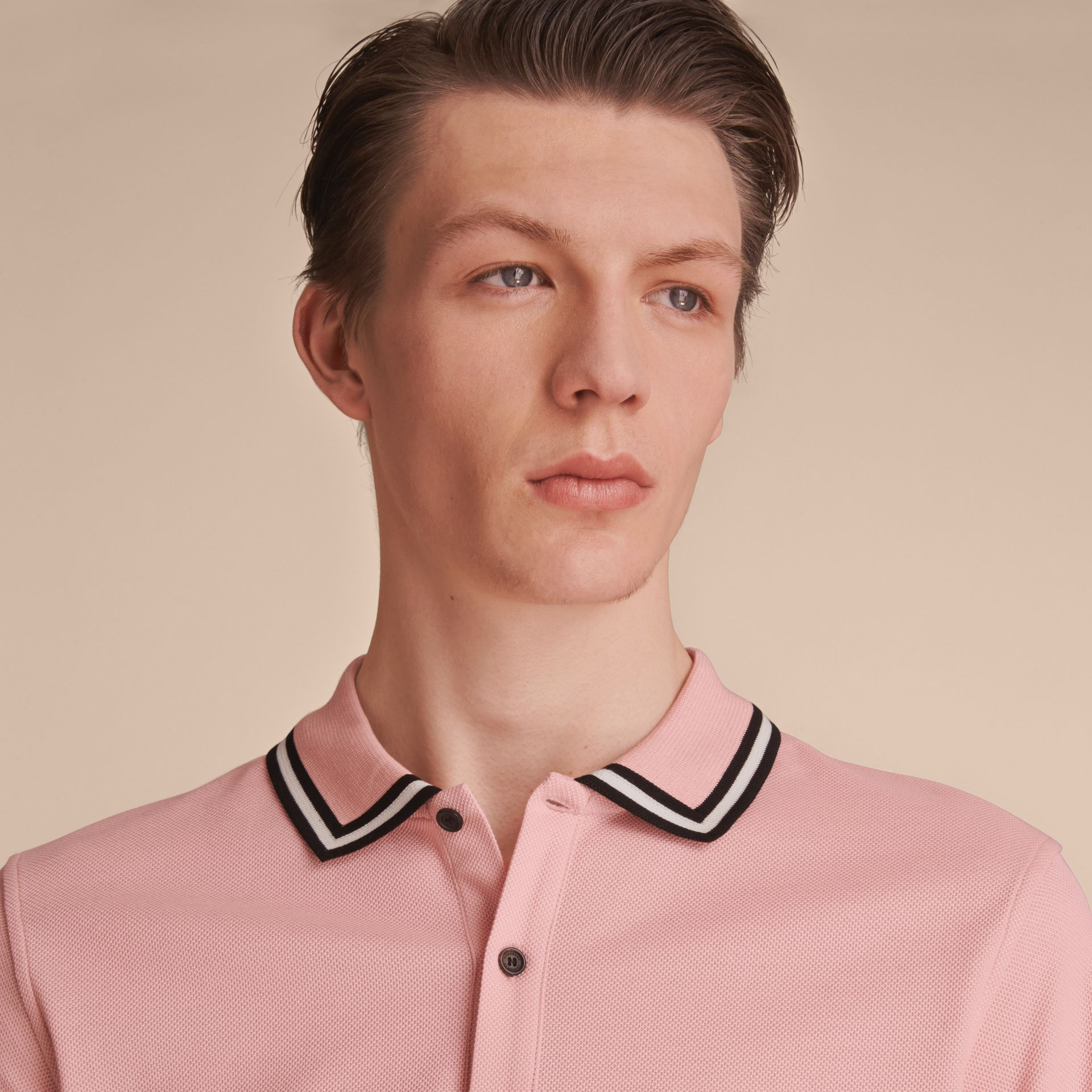 Striped Collar Cotton Piqué Polo Shirt in Chalk Pink - Men | Burberry Singapore - gallery image 5