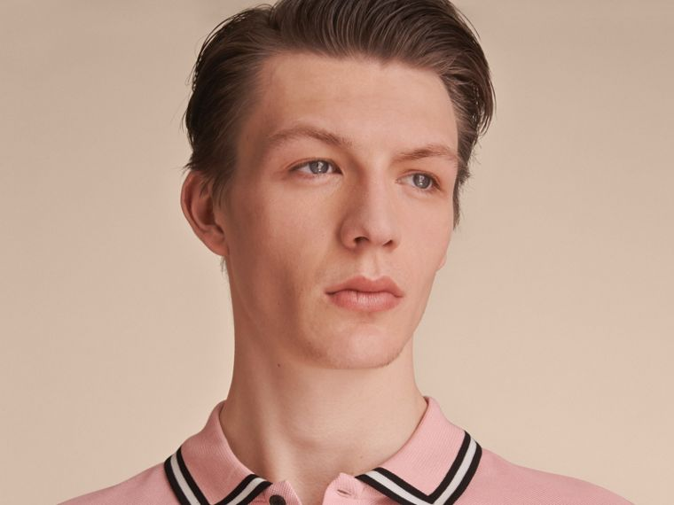 Striped Collar Cotton Piqué Polo Shirt in Chalk Pink - Men | Burberry Australia - cell image 4