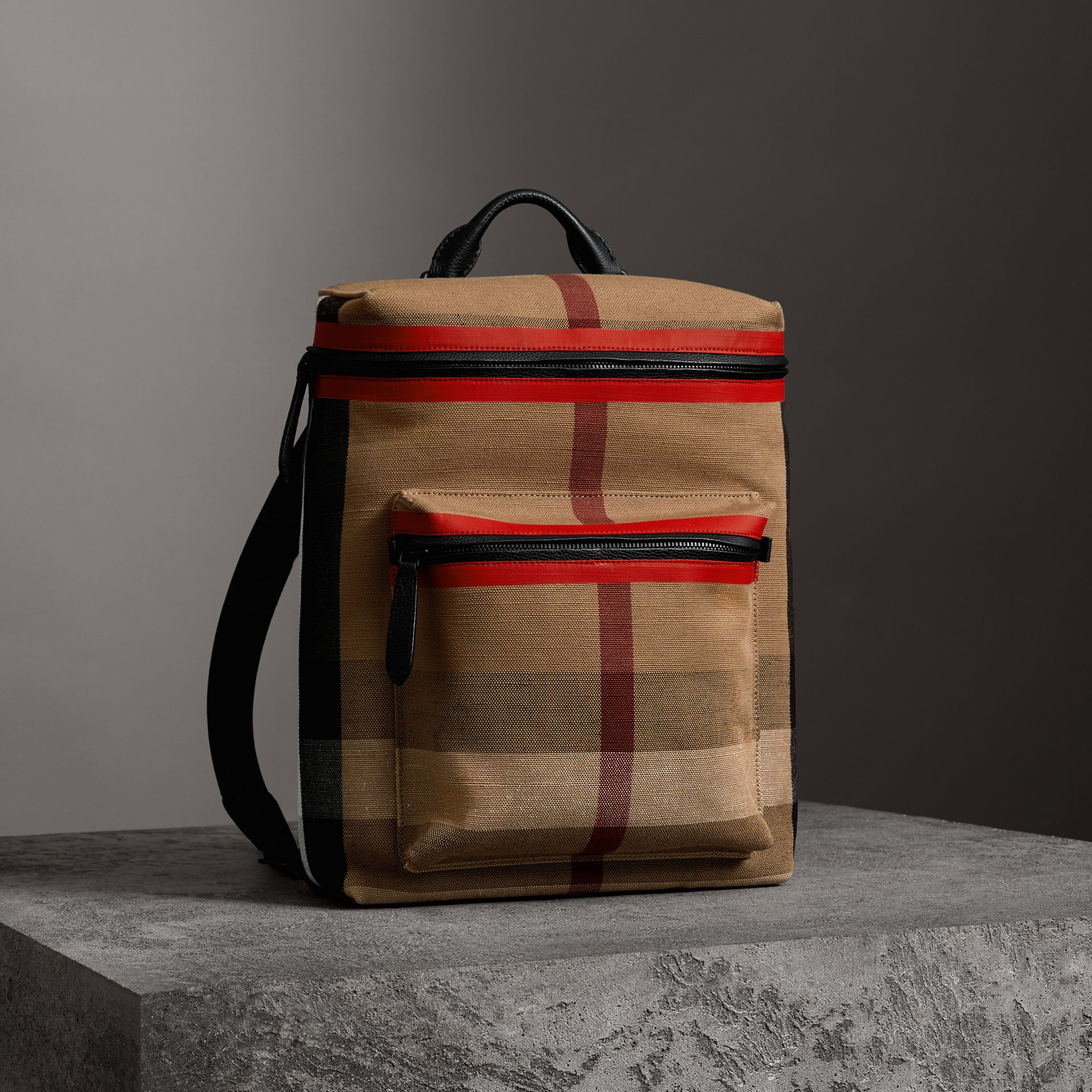 Zip-top Leather Trim Canvas Check Backpack in Military Red/camel - Men | Burberry - gallery image 3