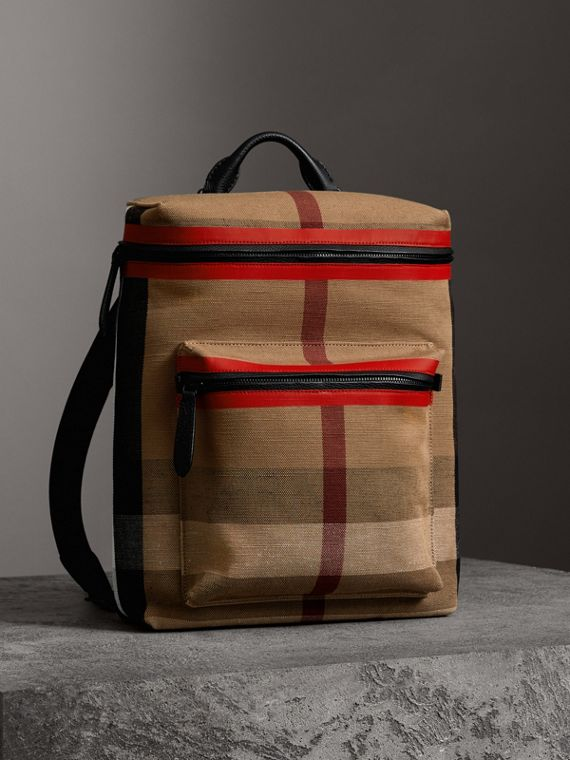 Zip-top Leather Trim Canvas Check Backpack in Military Red/camel - Men | Burberry - cell image 3