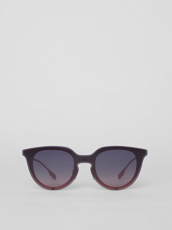Keyhole Round Frame Shield Sunglasses in Pink