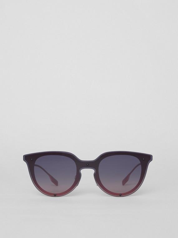 Runde Shield-Sonnenbrille mit Schlüssellochsteg (Rosa)