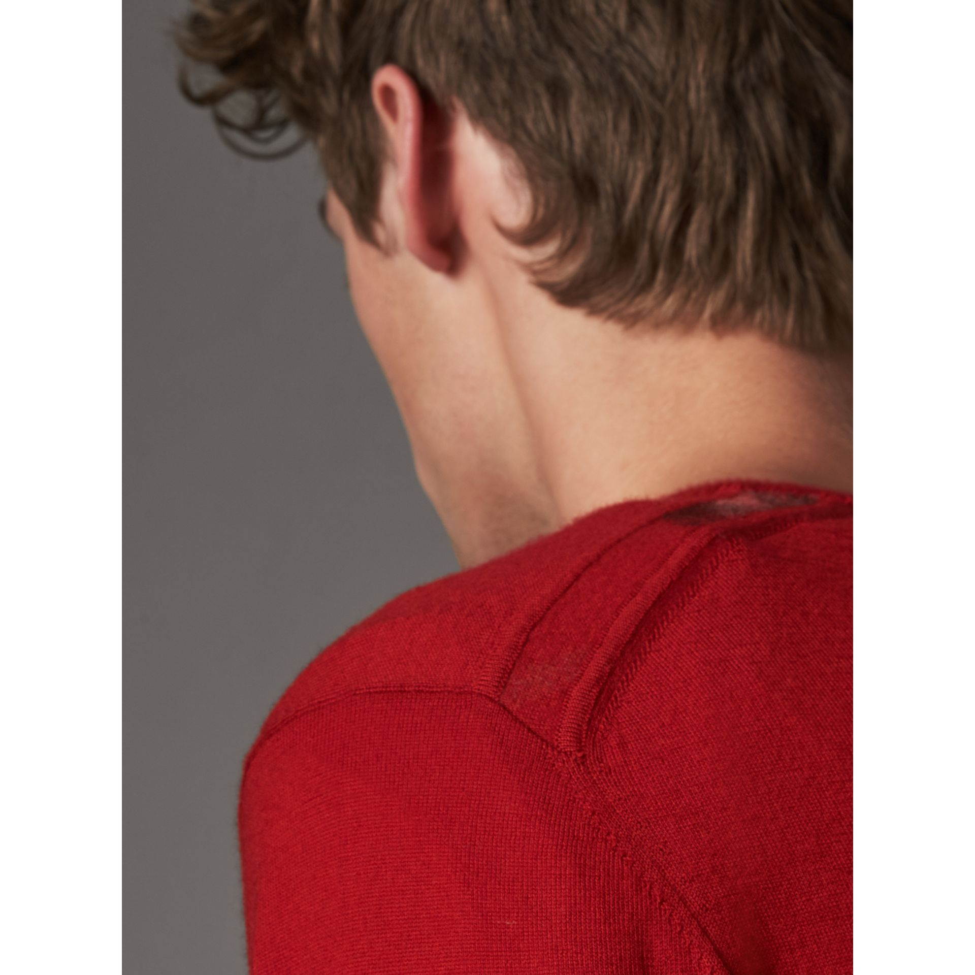 Check Jacquard Detail Cashmere Sweater in Parade Red - Men | Burberry - gallery image 3