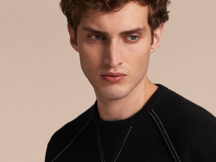 Topstitch Detail Wool Cashmere Blend Sweatshirt in Black - Men | Burberry - cell image 4