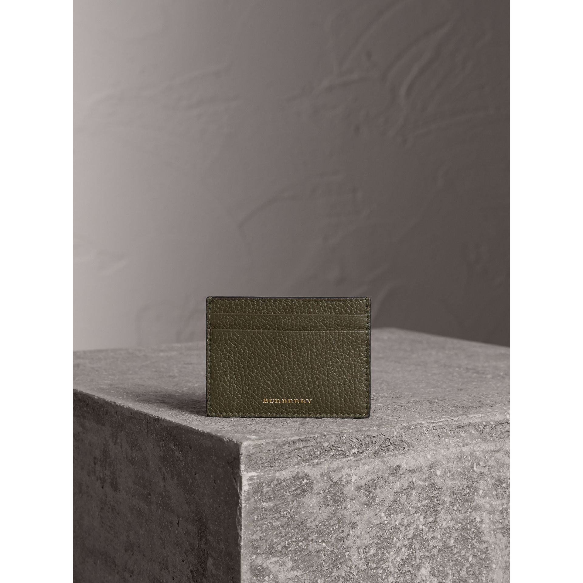 House Check and Grainy Leather Card Case in Sage - Men | Burberry - gallery image 3