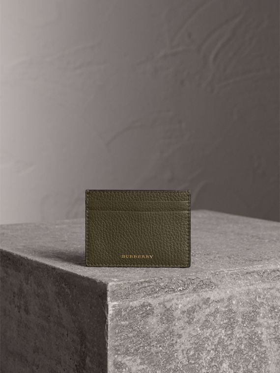 House Check and Grainy Leather Card Case in Sage - Men | Burberry - cell image 2