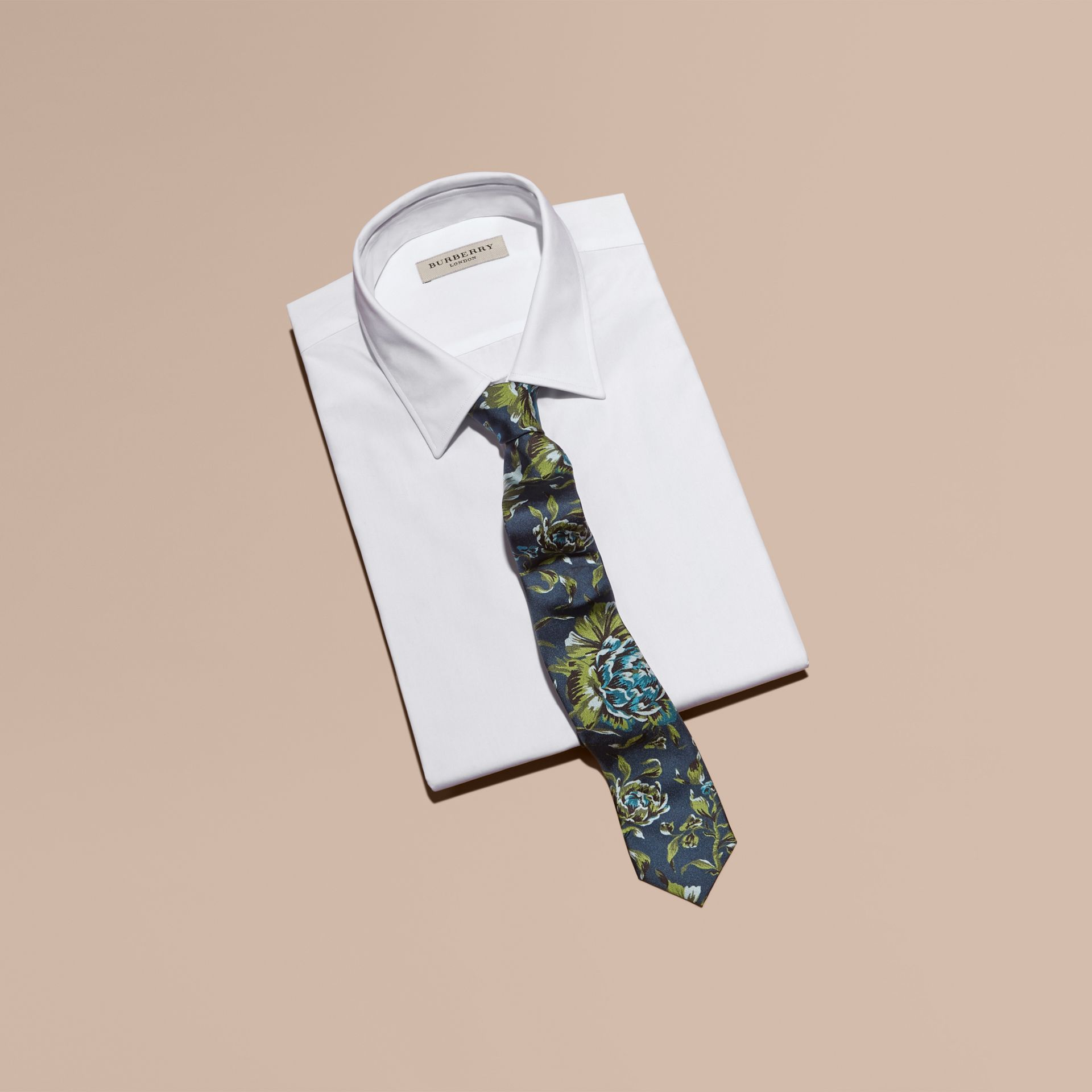 Dark teal green Slim Cut Peony Rose Print Silk Tie Dark Teal Green - gallery image 3