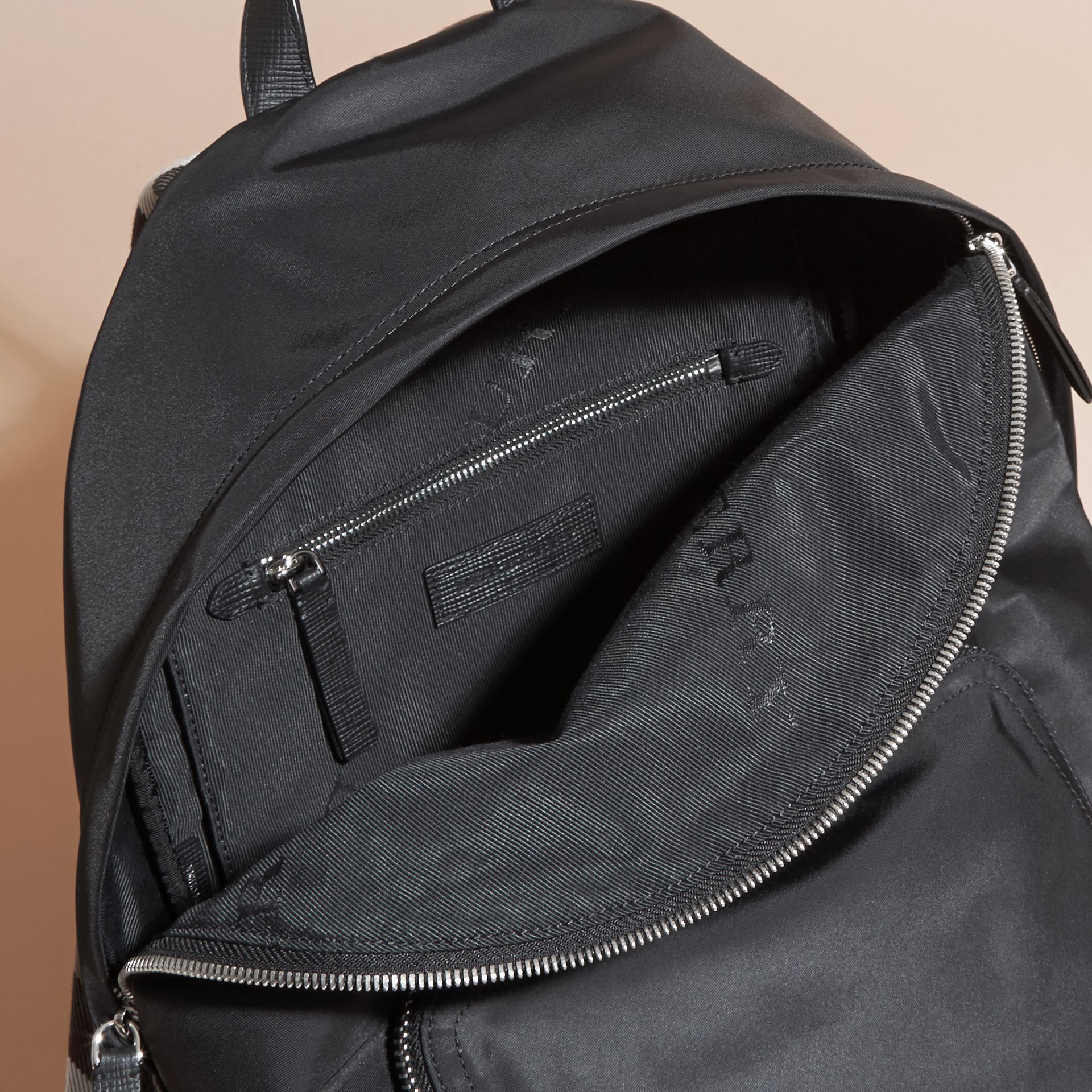 Black Leather Trim Nylon Backpack with Check Detail - gallery image 5