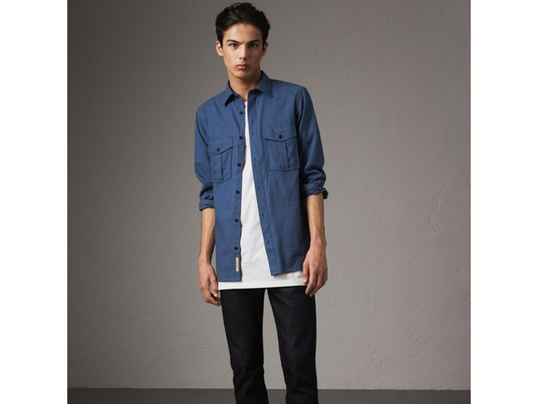 Lightweight Cotton Flannel Shirt in Canvas Blue - Men | Burberry - cell image 4