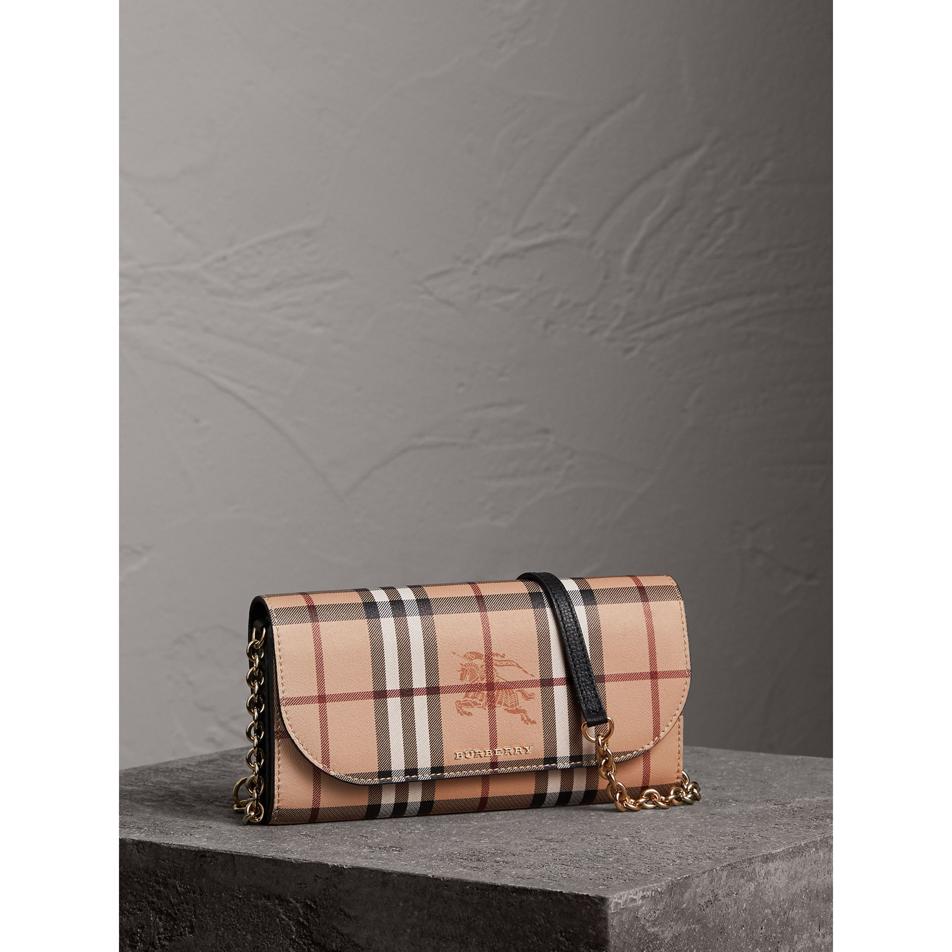 Leather Trim Haymarket Check Wallet with Chain in Black - Women | Burberry - gallery image 1