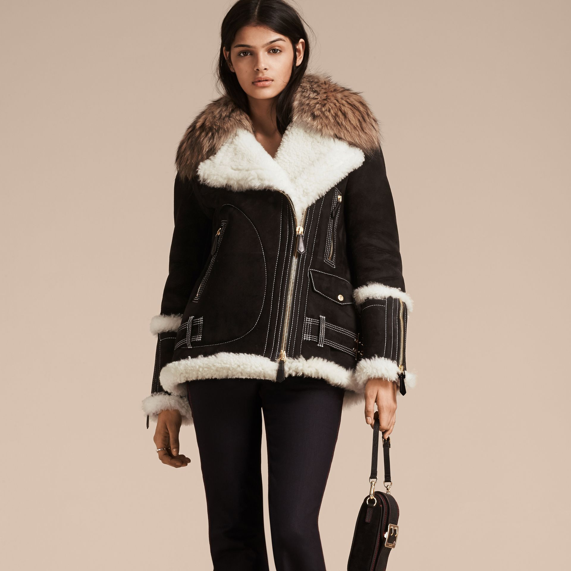 Black Suede and Shearling Aviator Jacket with Raccoon Fur Collar - gallery image 1