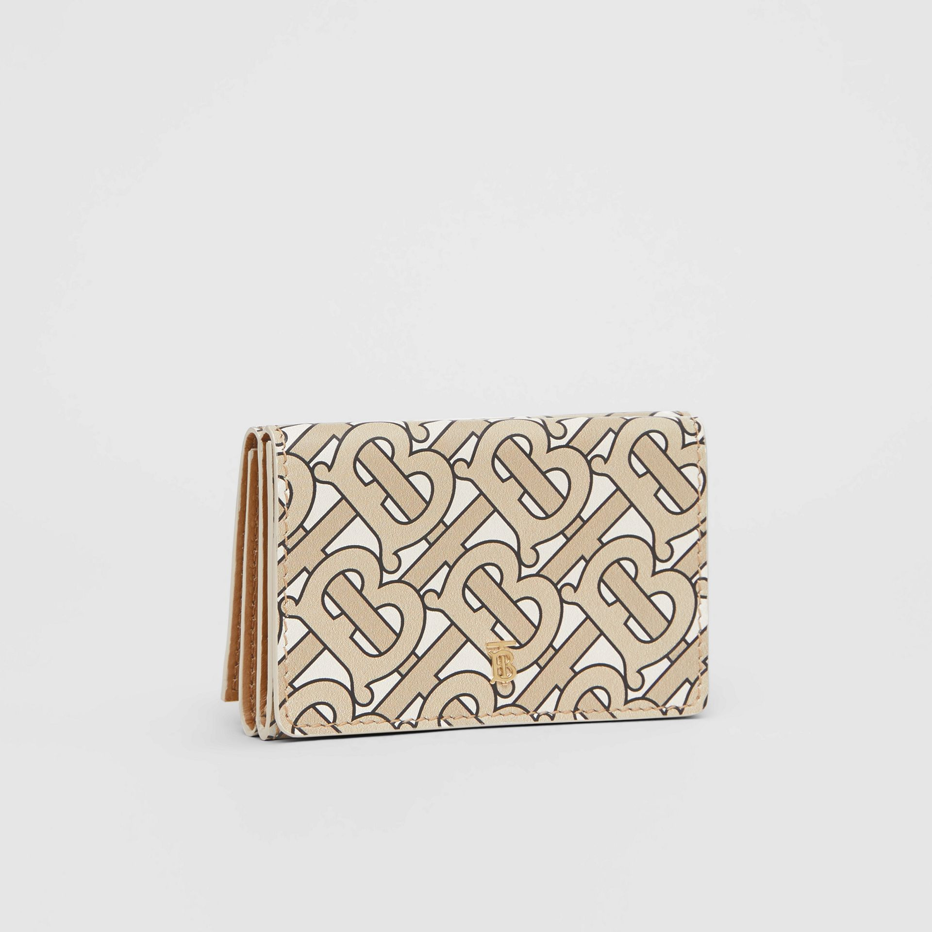 Small Monogram Print Leather Folding Wallet in Beige - Women | Burberry - gallery image 3