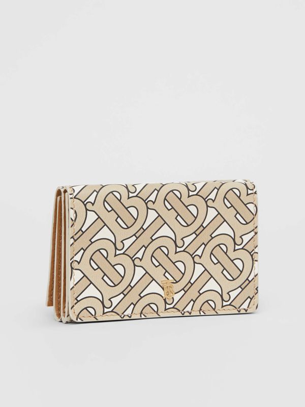 Small Monogram Print Leather Folding Wallet in Beige - Women | Burberry - cell image 3