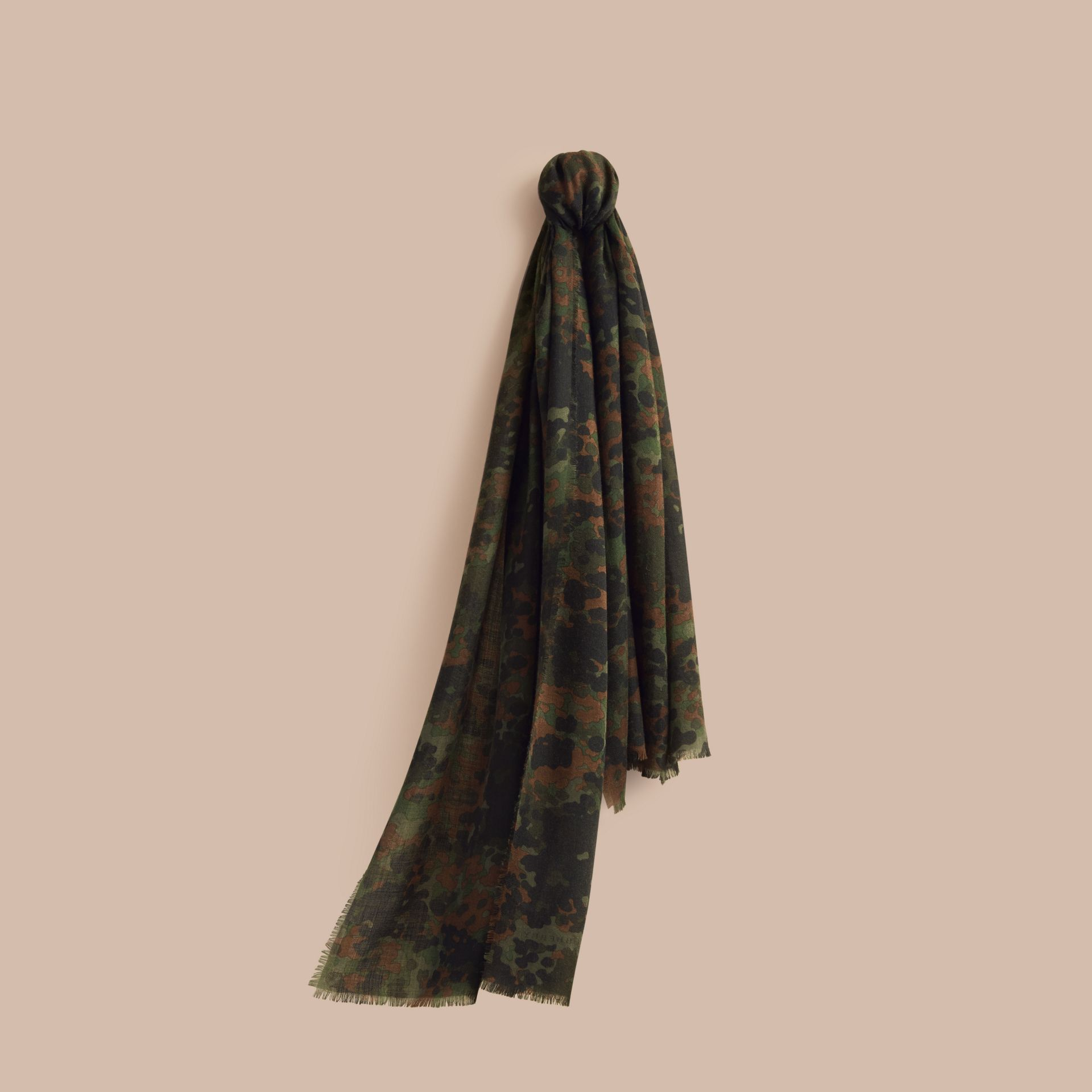 Dark cedar green The Lightweight Cashmere Scarf in Camouflage Print - gallery image 1