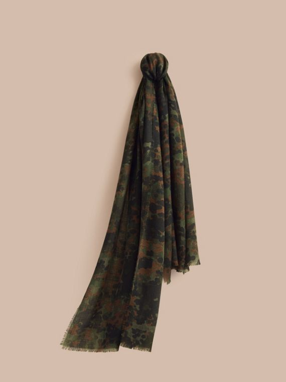 The Lightweight Cashmere Scarf in Camouflage Print