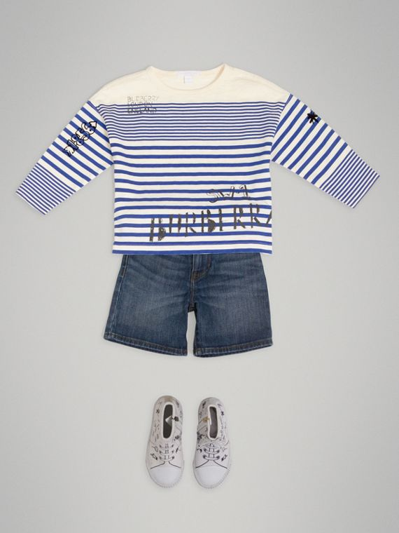 SW1 Print Striped Cotton Top in Bright Lapis/natural White - Boy | Burberry - cell image 2