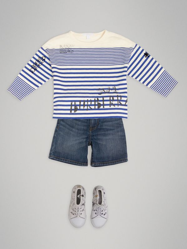 SW1 Print Striped Cotton Top in Bright Lapis/natural White | Burberry - cell image 2
