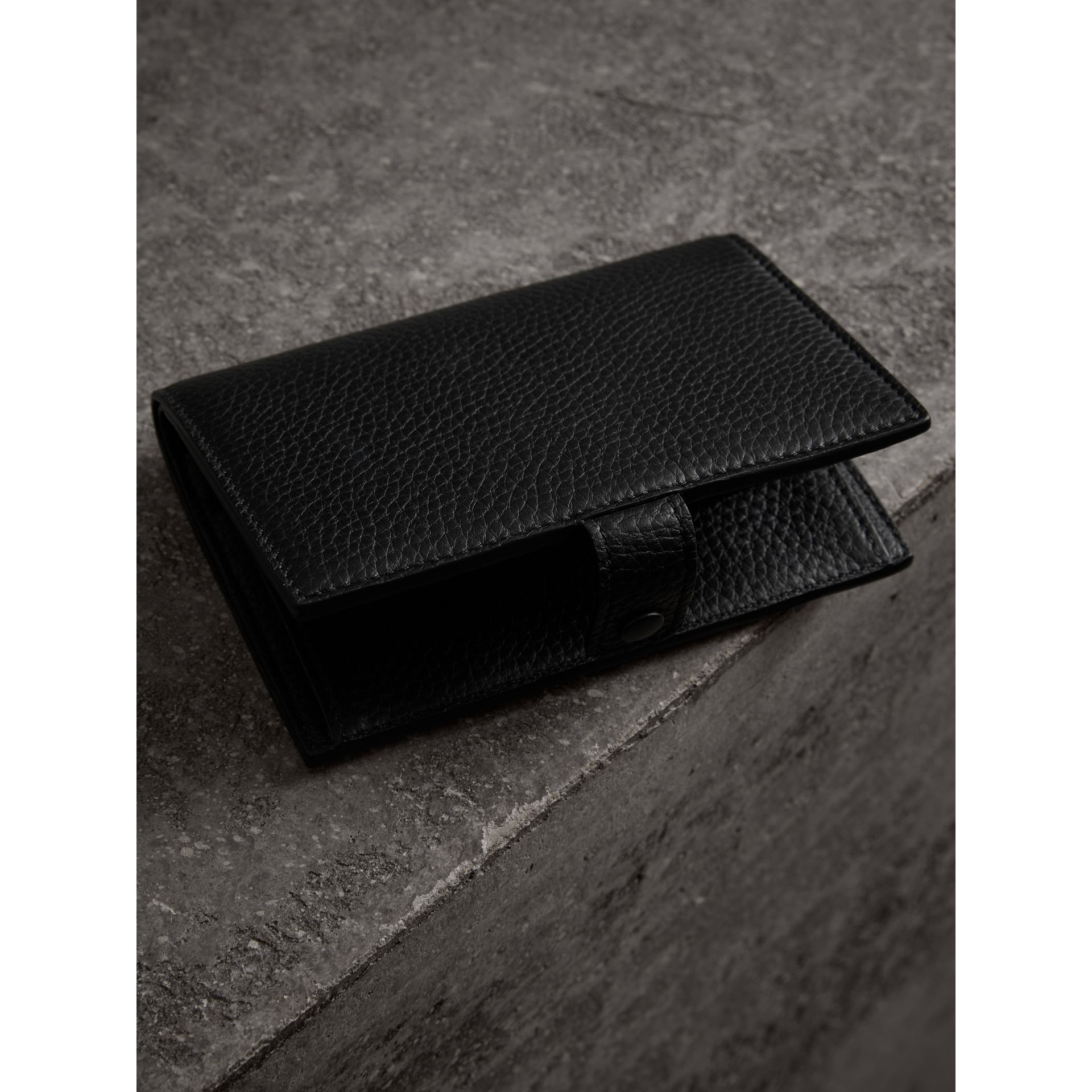 Embossed Grainy Leather Folding Wallet in Black - Women | Burberry Australia - gallery image 2