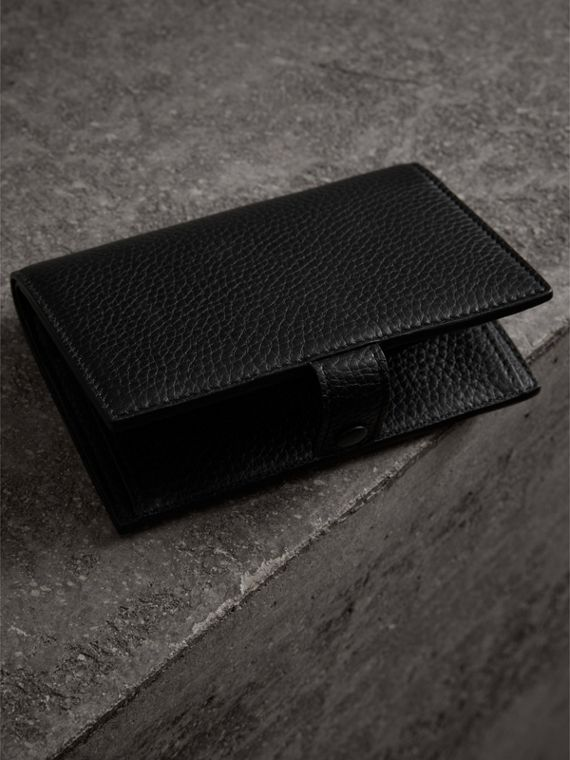 Embossed Grainy Leather Folding Wallet in Black - Women | Burberry Australia - cell image 2