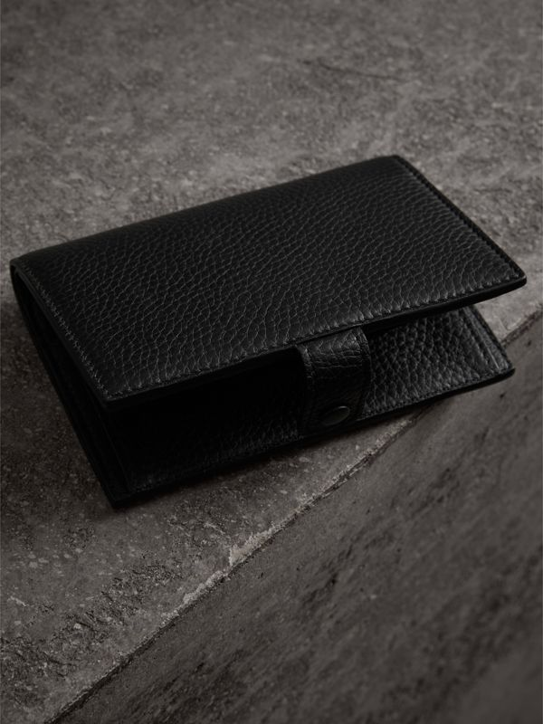 Embossed Grainy Leather Folding Wallet in Black - Women | Burberry - cell image 2