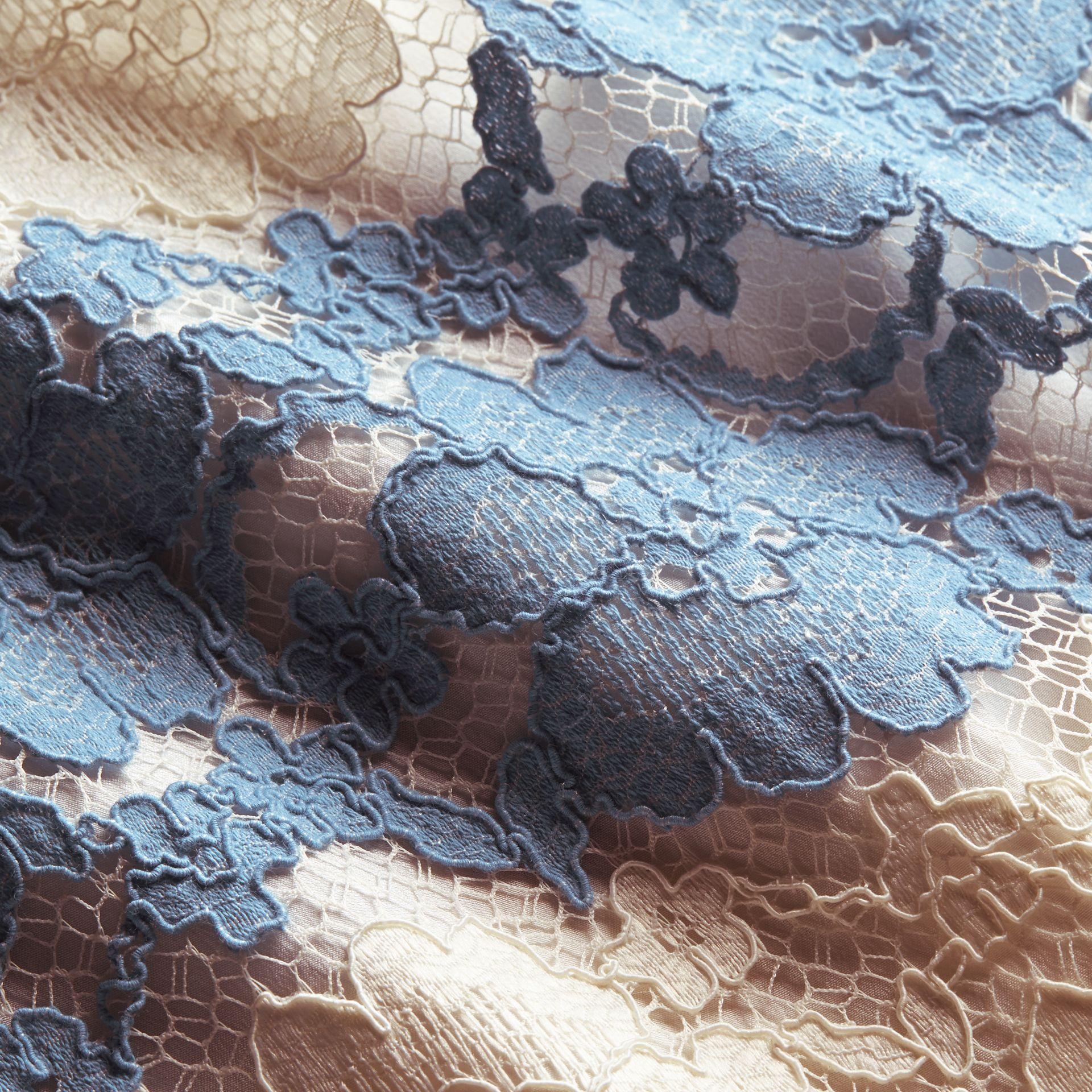 Floral Lace Dress with Flutter Sleeves in Slate Blue - gallery image 2
