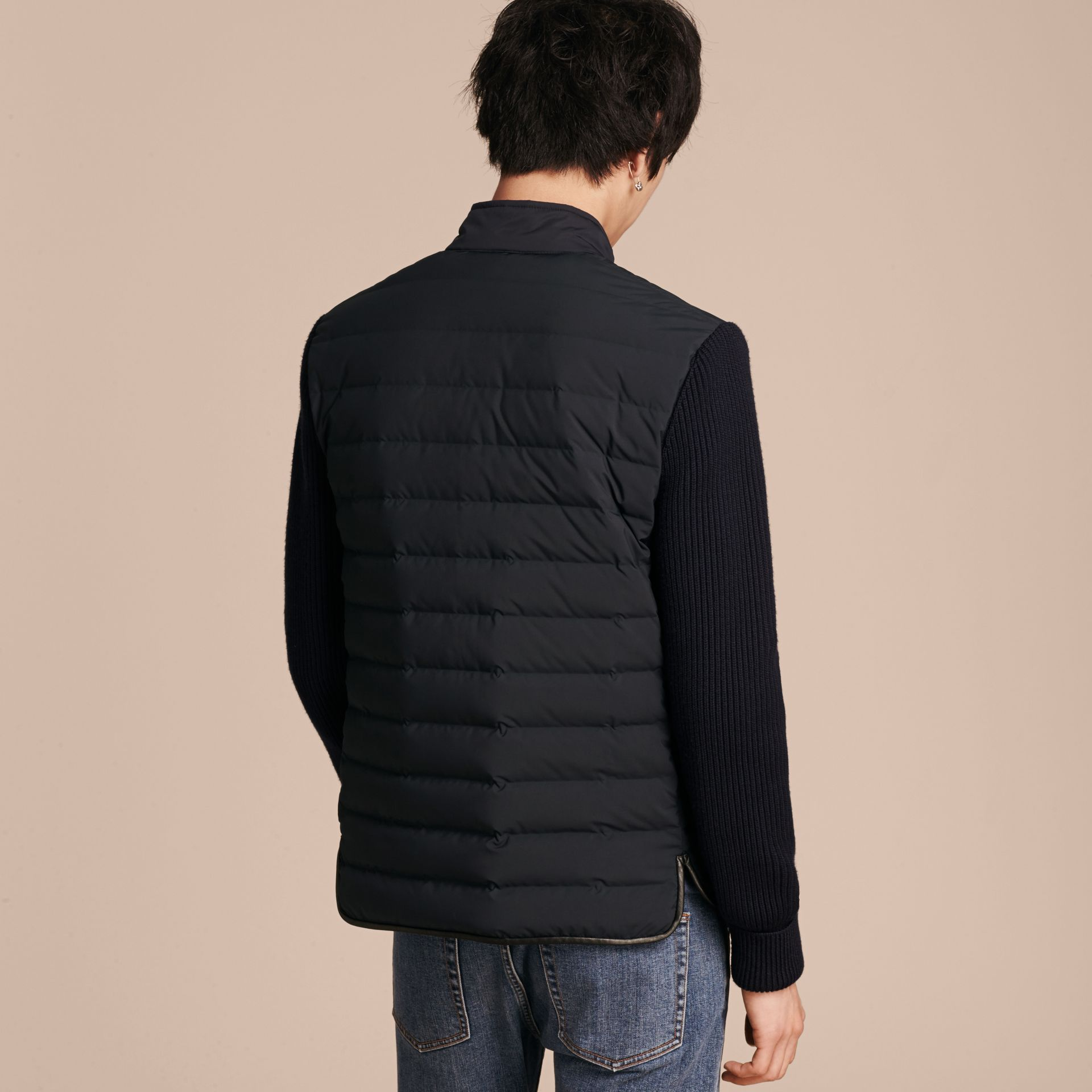 Navy Down-Filled Jacket with Knitted Sleeves - gallery image 3