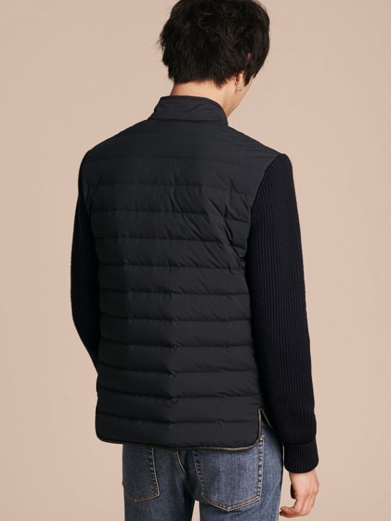 Navy Down-Filled Jacket with Knitted Sleeves - cell image 2