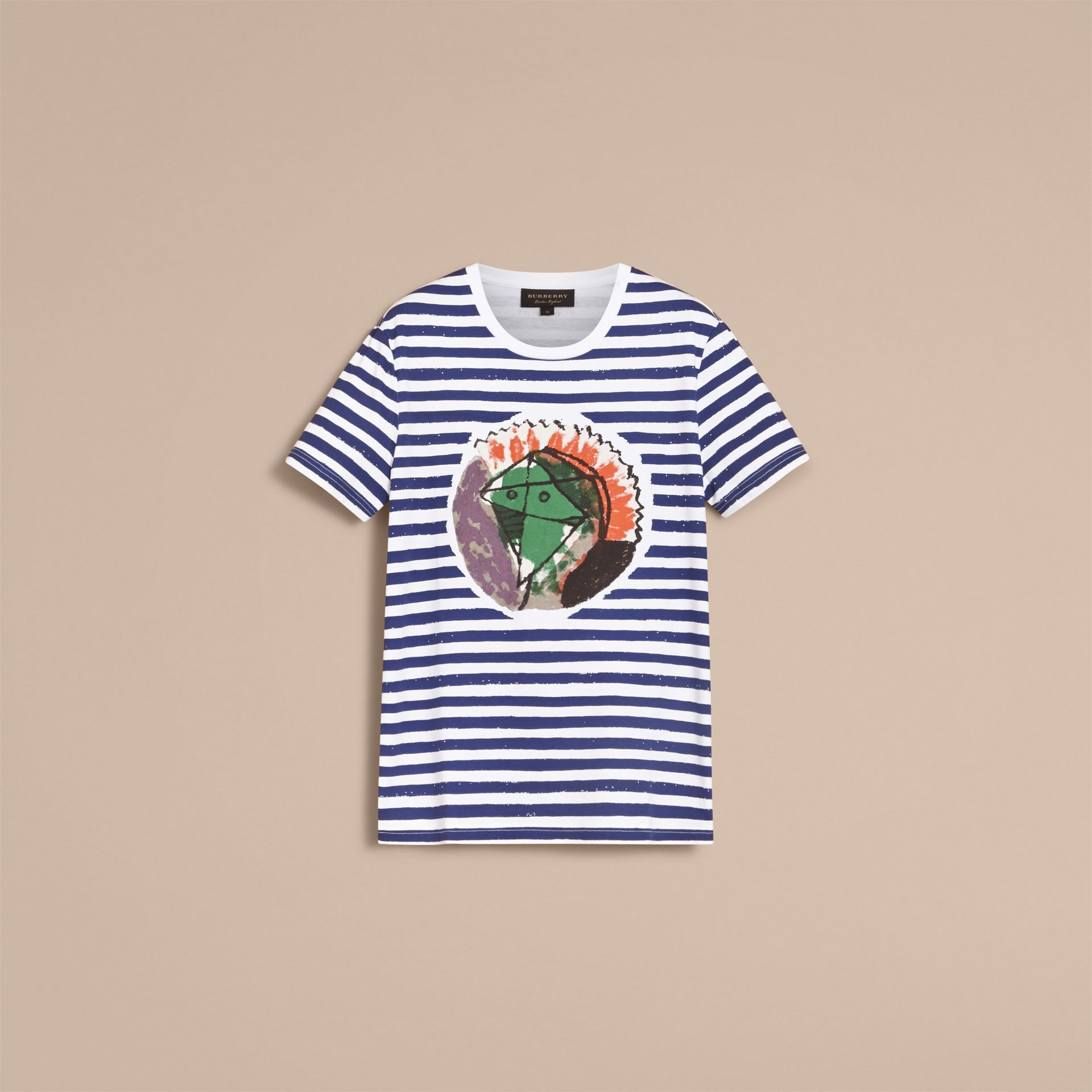 Pallas Heads Print Striped Cotton T-shirt in White - Men | Burberry - gallery image 4