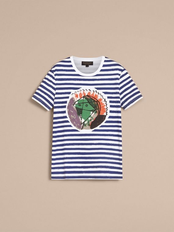 Pallas Heads Print Striped Cotton T-shirt in White - Men | Burberry - cell image 3