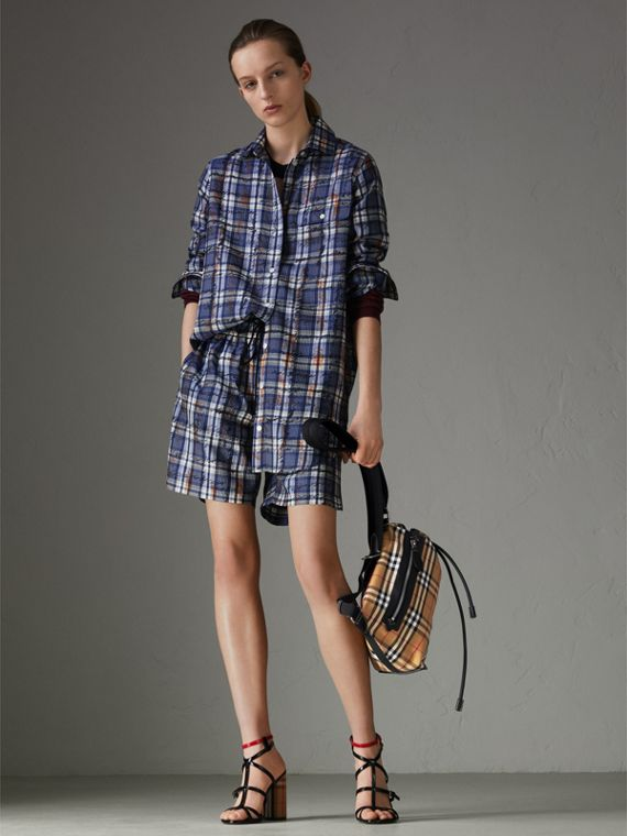 Small Vintage Check Cotton Duffle Bag in Antique Yellow - Women | Burberry Singapore - cell image 2