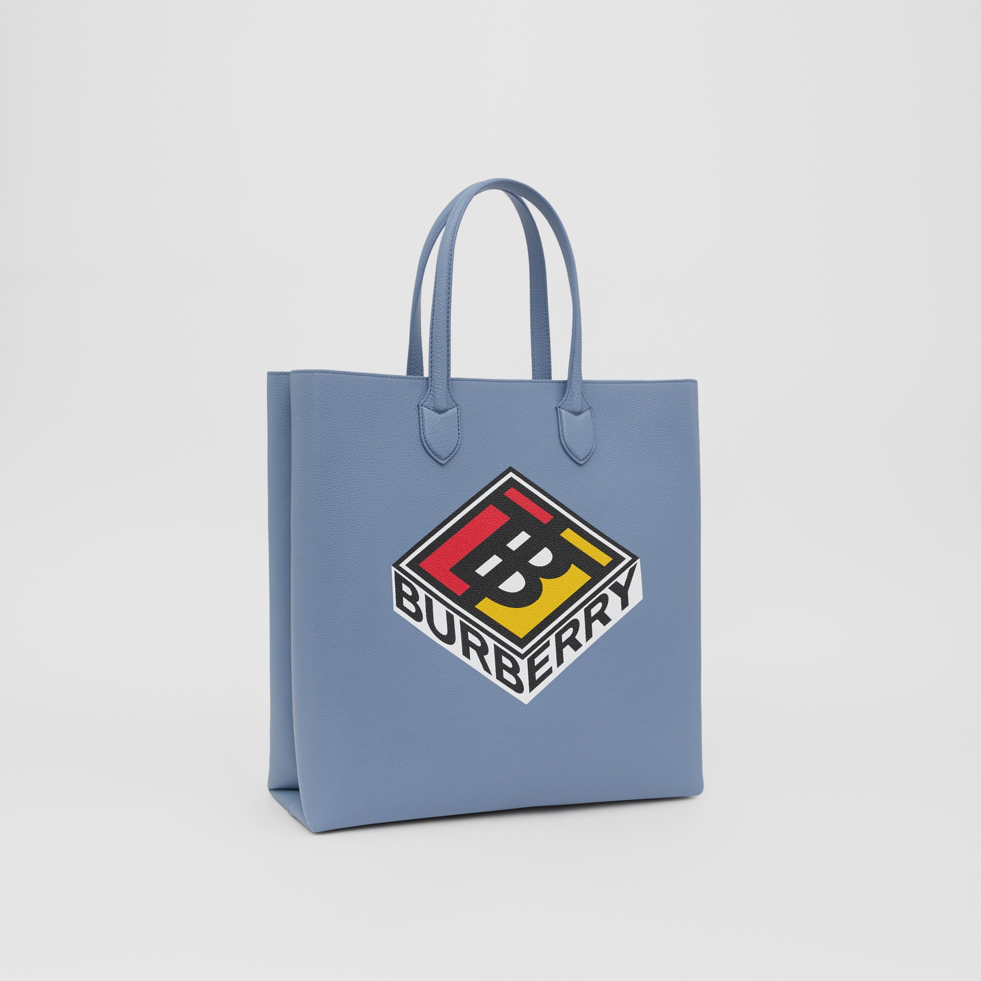 Large Logo Graphic Grainy Leather Tote in Baby Blue - Men | Burberry United Kingdom - gallery image 8