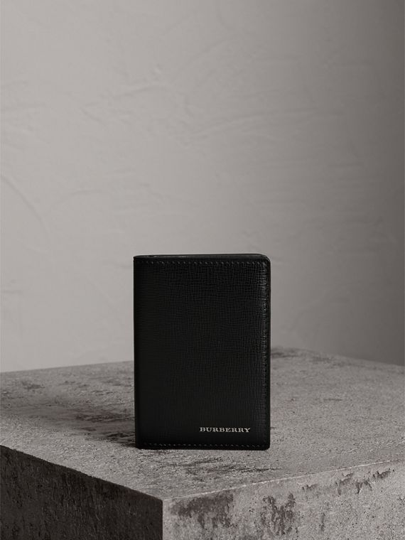London Leather Folding Card Case in Black