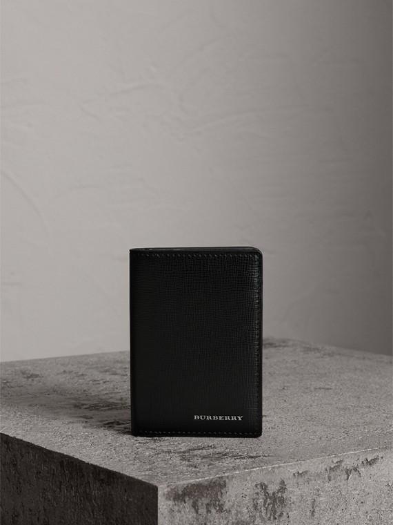 London 皮革對折卡片夾 (黑色)