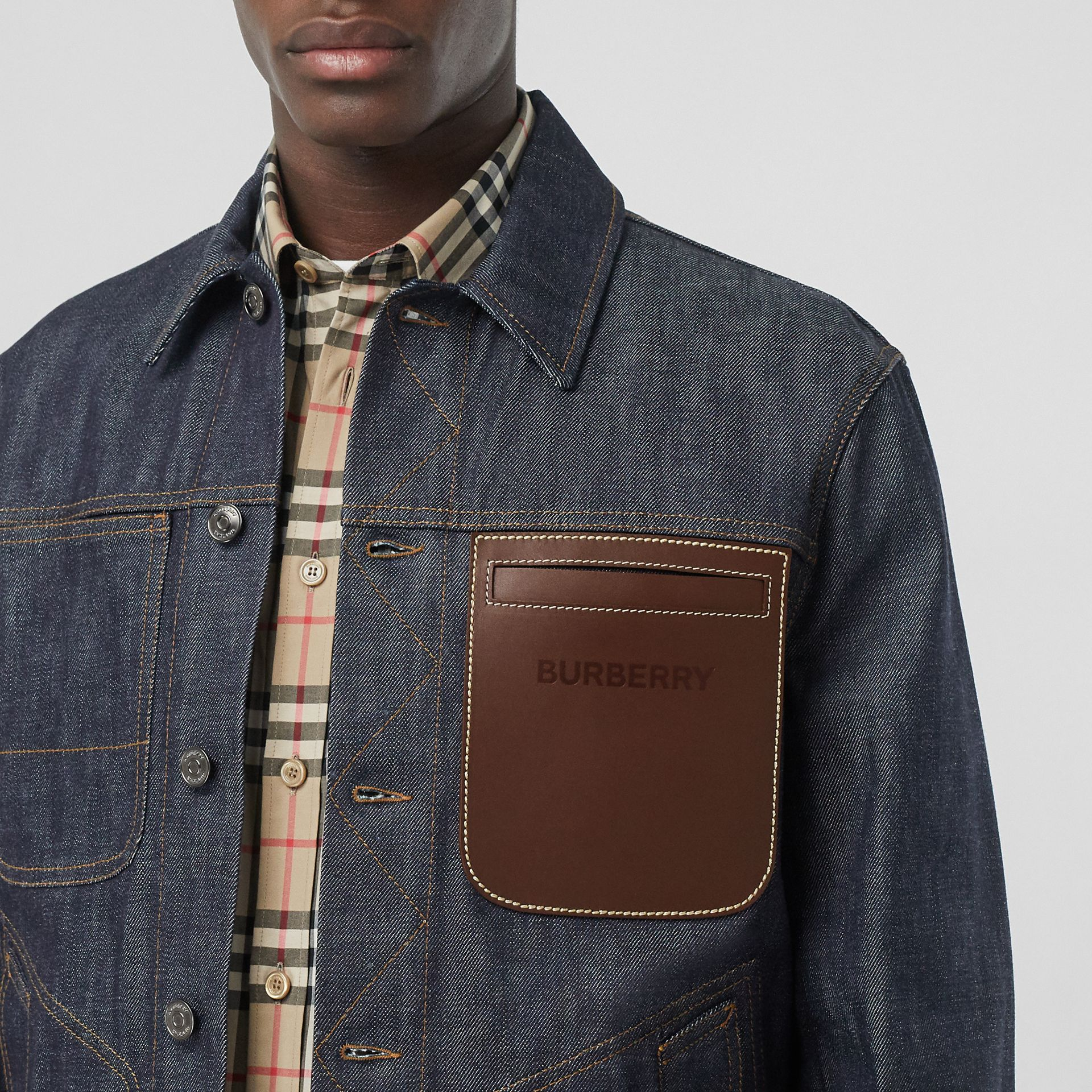 Leather Detail Japanese Selvedge Denim Jacket in Mid Indigo Blue - Men | Burberry - gallery image 1