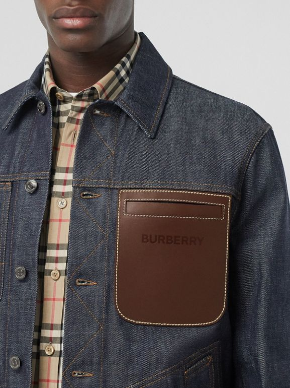 Leather Detail Japanese Selvedge Denim Jacket in Mid Indigo Blue - Men | Burberry - cell image 1