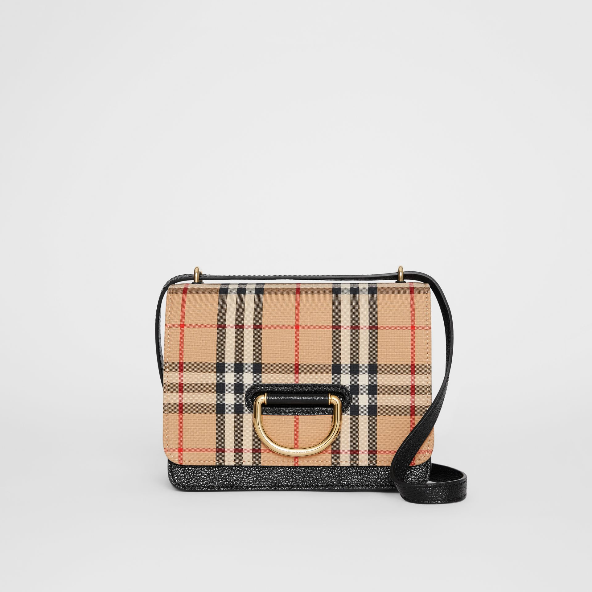 The Small Vintage Check and Leather D-ring Bag in Black - Women | Burberry - gallery image 1