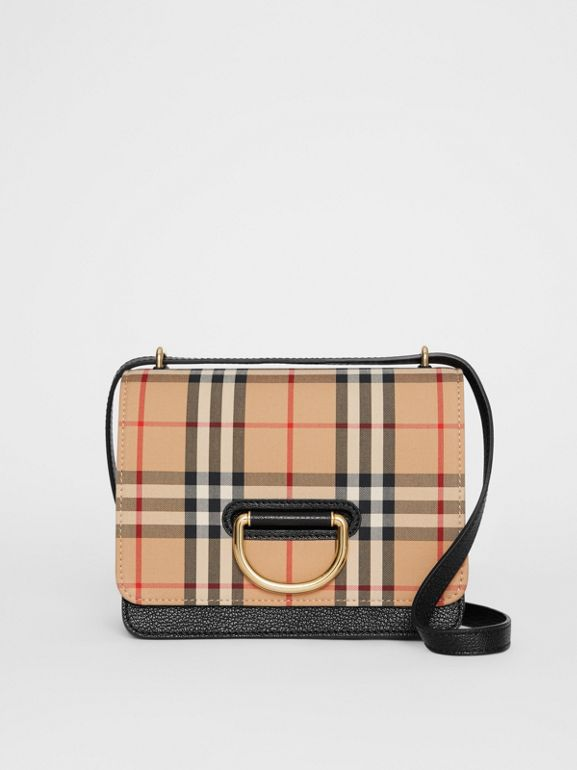 The Small Vintage Check and Leather D-ring Bag in Black - Women | Burberry United States - cell image 1