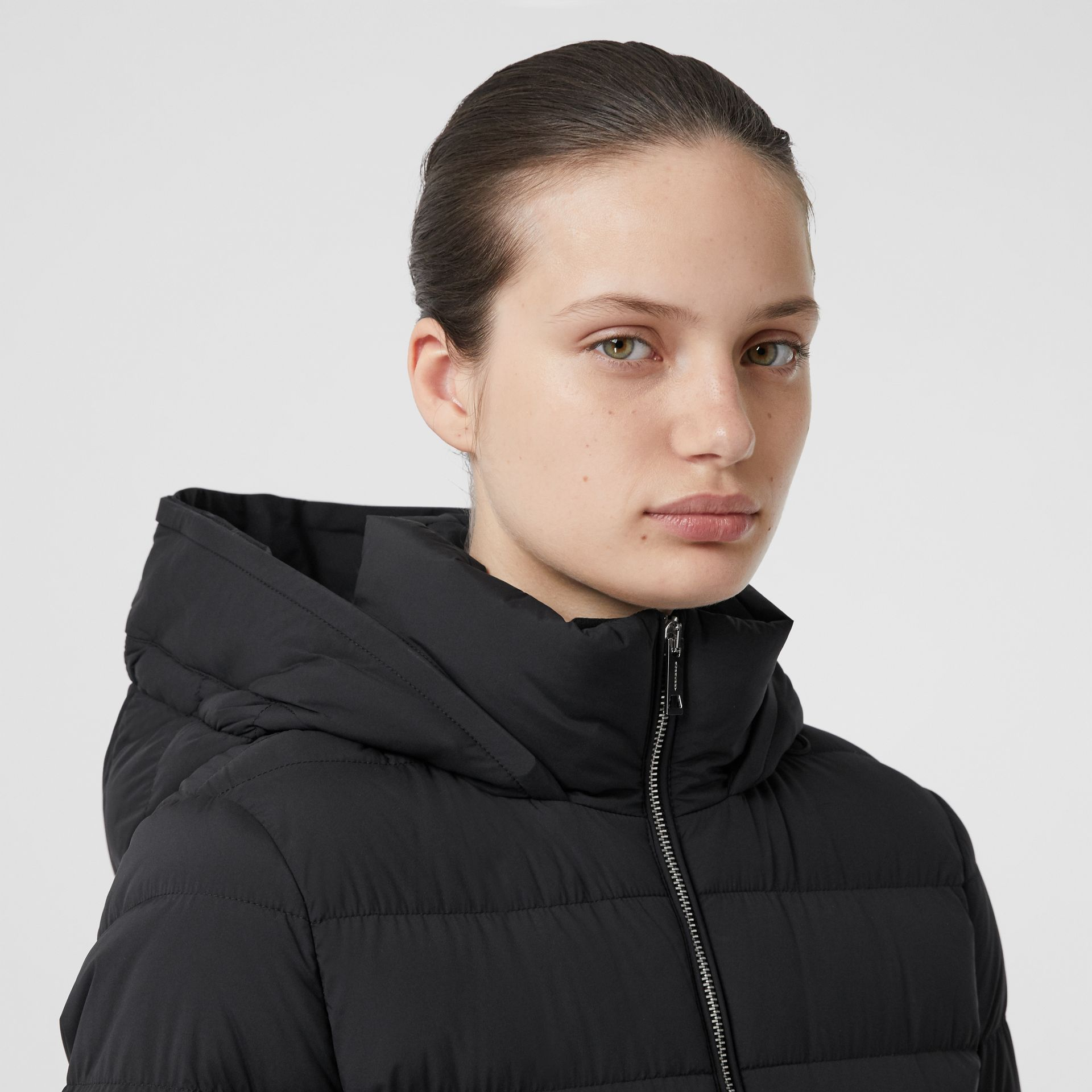 Detachable Faux Fur Trim Hooded Puffer Coat in Black - Women | Burberry United States - gallery image 1