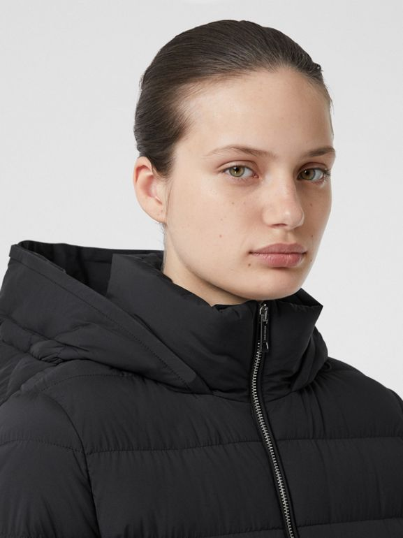 Detachable Faux Fur Trim Hooded Puffer Coat in Black - Women | Burberry - cell image 1