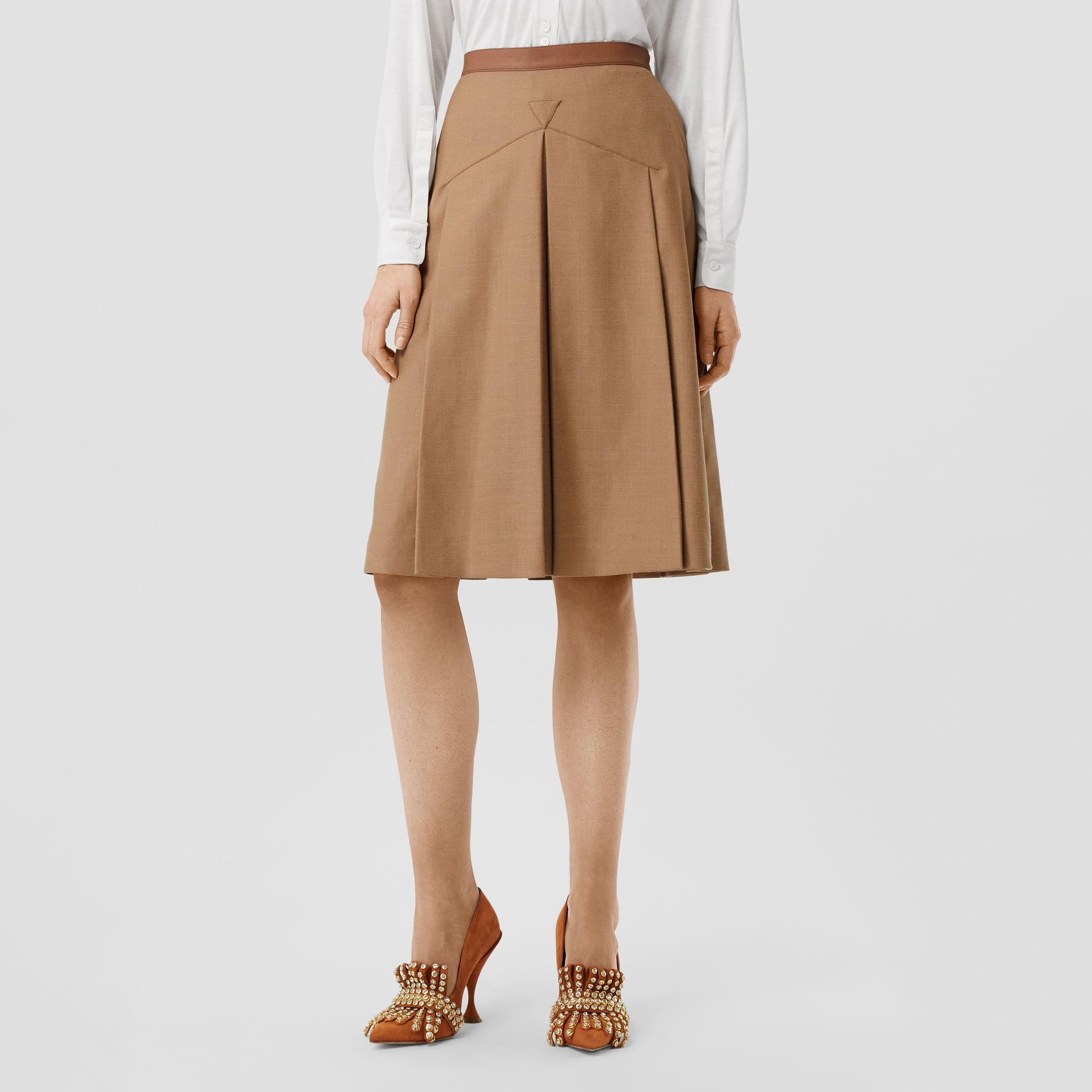 Lambskin Trim Box-pleated Wool Silk Skirt in Camel - Women | Burberry Canada - gallery image 4