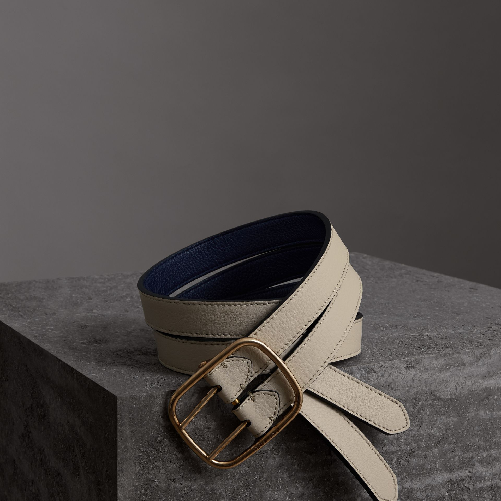 Double-strap Leather Belt in Limestone/regency Blue - Women | Burberry United Kingdom - gallery image 0