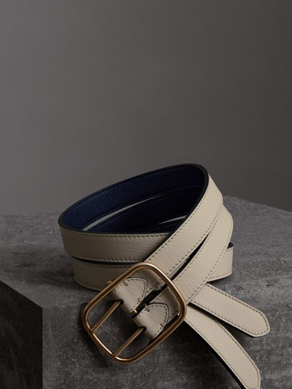 Double-strap Leather Belt in Limestone/regency Blue