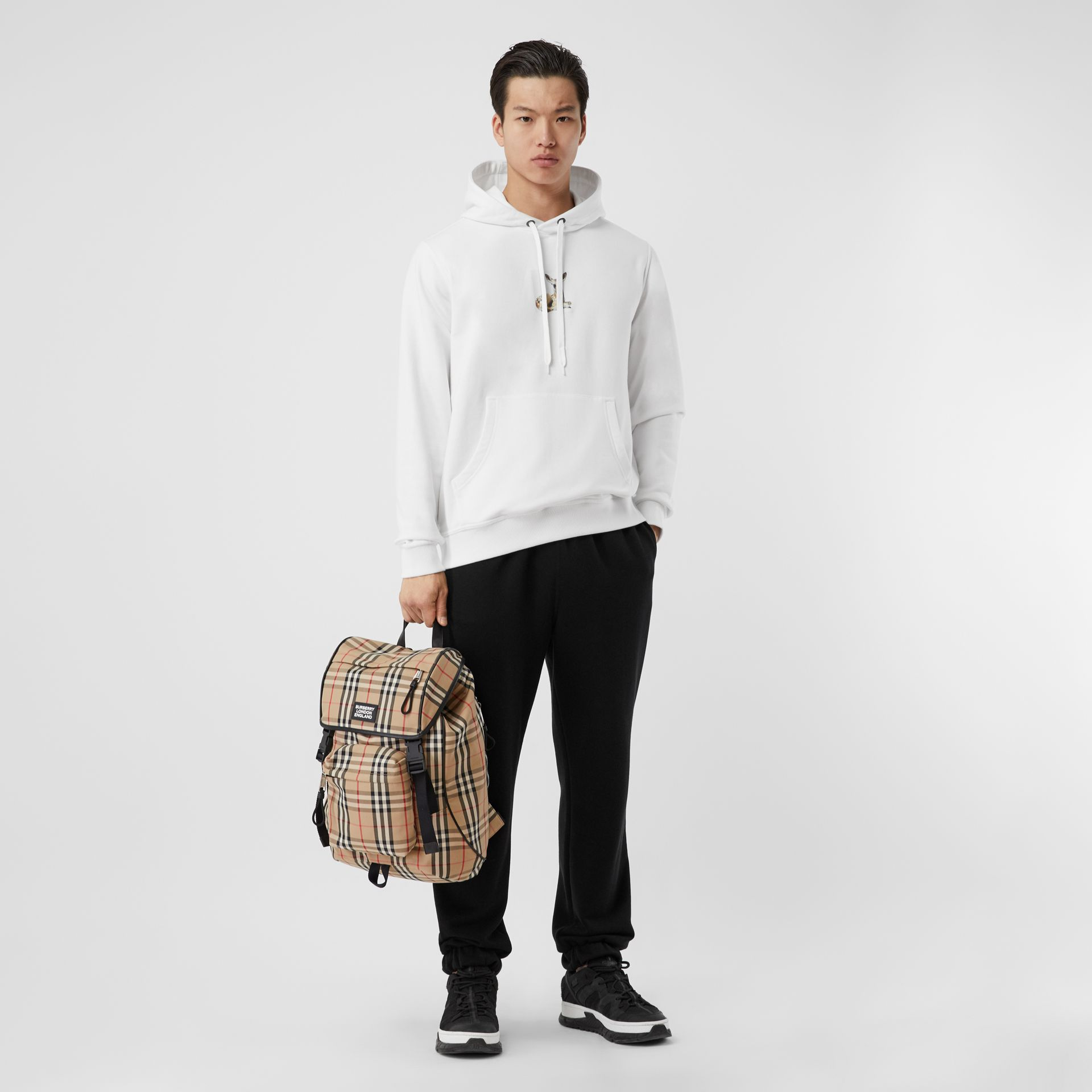 Deer Print Cotton Hoodie in White - Men | Burberry Singapore - gallery image 0